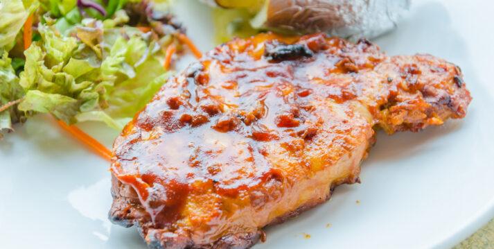 Pork Flat Iron Steak with a Apple-Bourbon Glaze